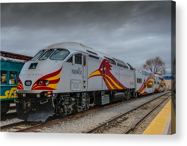 Clouds Acrylic Print featuring the photograph Rail Runner Locomotive by Gej Jones