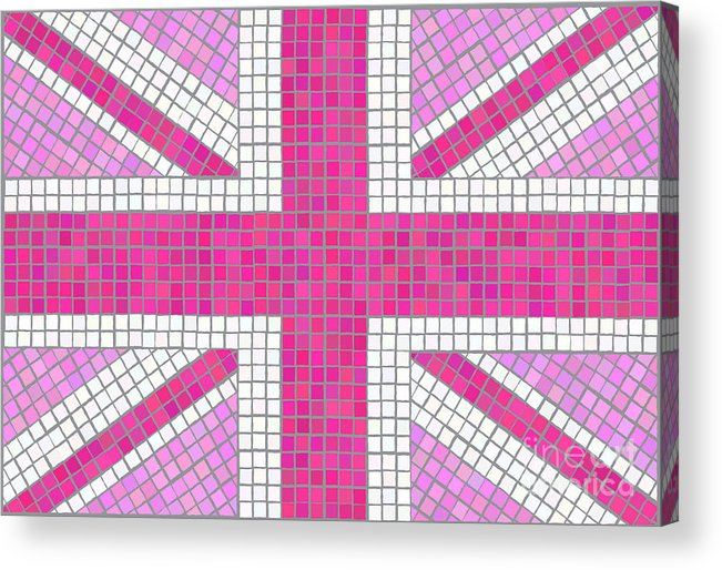 Background Acrylic Print featuring the digital art Union Jack Pink by Jane Rix