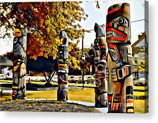 Totem Pole Acrylic Print featuring the photograph V.i. 0029 by Charles Cunningham
