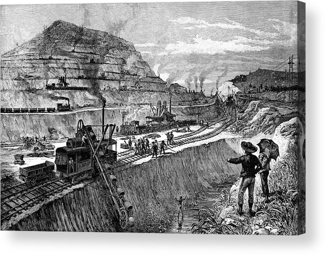 Horizontal Acrylic Print featuring the painting 1900s Engraving Of Construction by Vintage Images