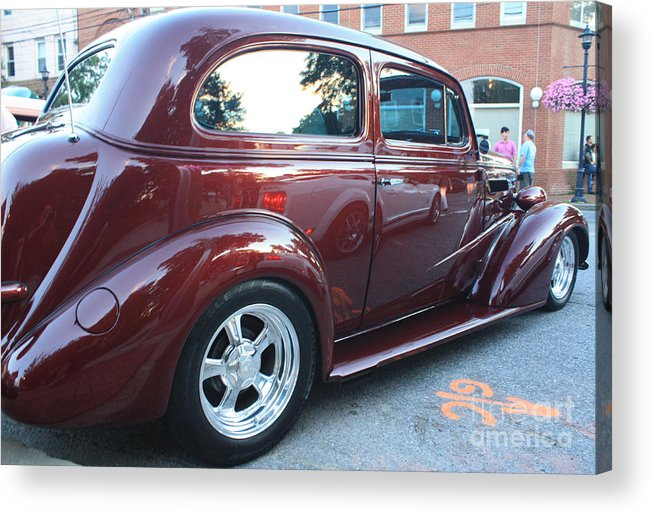 1937 Chevy Two Door Sedan Rear And Side View Acrylic Print featuring the photograph 1937 Chevy Two Door Sedan Rear And Side View by John Telfer