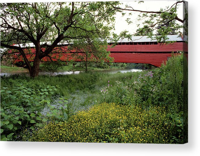 Photography Acrylic Print featuring the photograph 1990s Dreibelbis Station Covered Bridge by Vintage Images