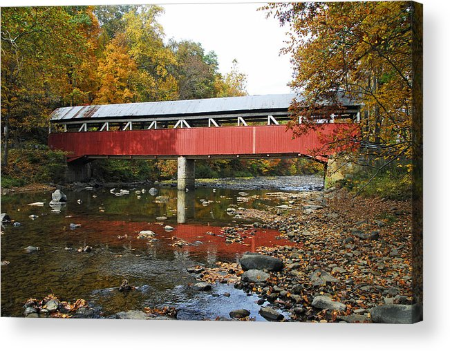 Covered Bridge Acrylic Print featuring the photograph Lower Humbert Covered Bridge by Dan Myers