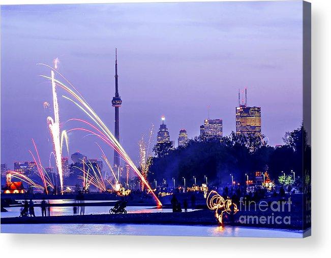 Toronto Acrylic Print featuring the photograph Toronto Fireworks by Elena Elisseeva