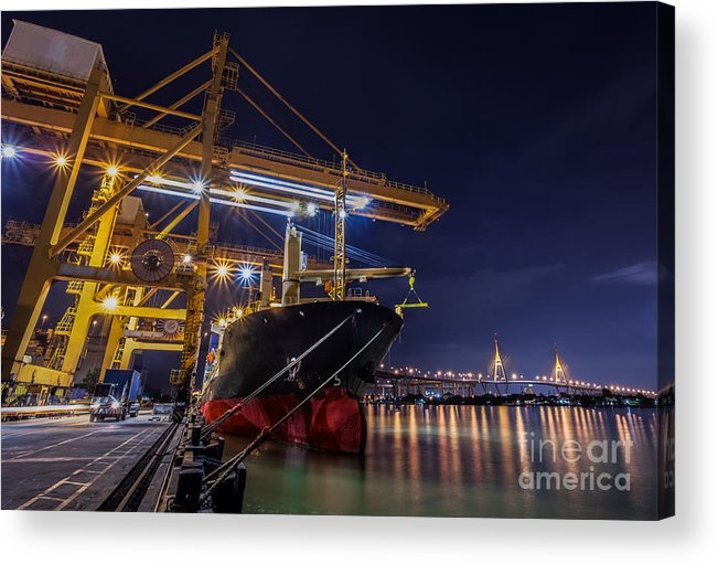 Thailand Acrylic Print featuring the photograph Container Cargo Freight Ship by Anek Suwannaphoom