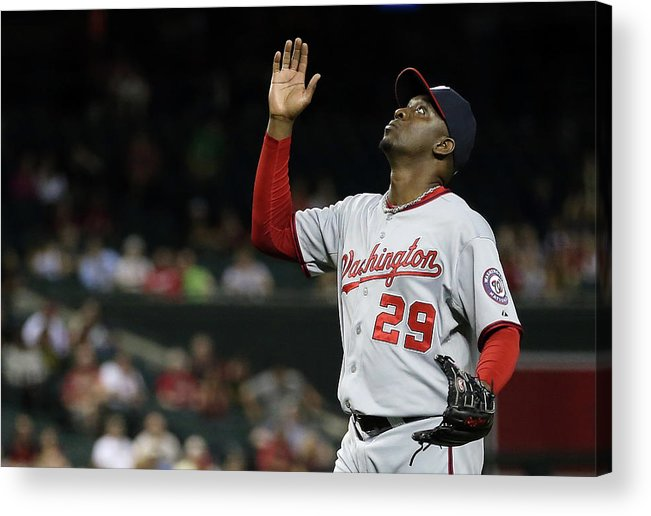 Relief Pitcher Acrylic Print featuring the photograph Washington Nationals V Arizona 3 by Christian Petersen