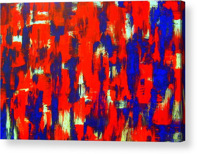 Art Acrylic Print featuring the painting Modern Abstract Painting Original Canvas Art Shadow People By Zee Clark by Zee Clark