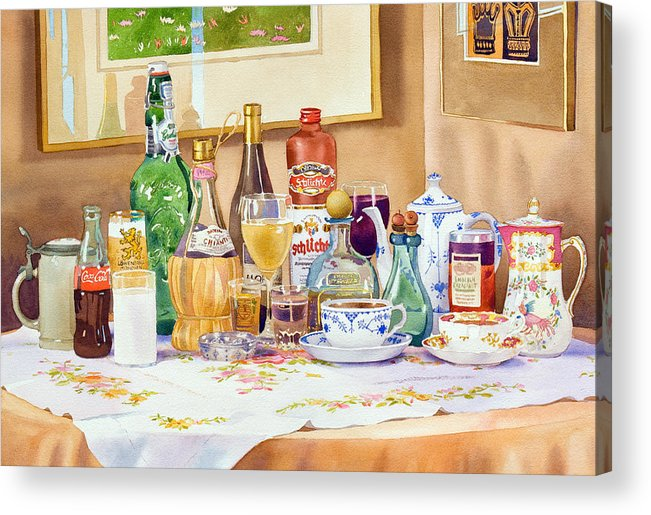 Drinks Acrylic Print featuring the painting A Collection Of Drinks by Mary Helmreich