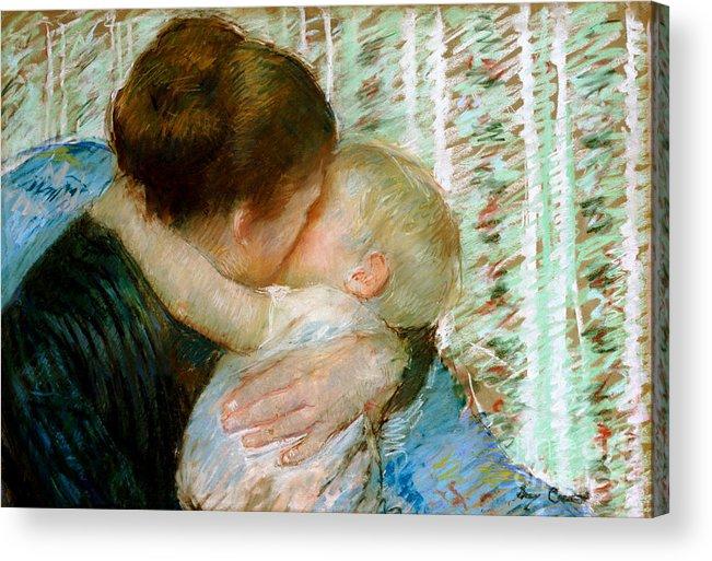 Mary Acrylic Print featuring the painting A Goodnight Hug by Mary Stevenson Cassatt