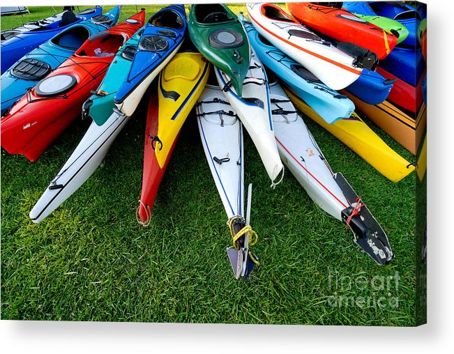 A Lot Acrylic Print featuring the photograph A Stack Of Kayaks by Amy Cicconi
