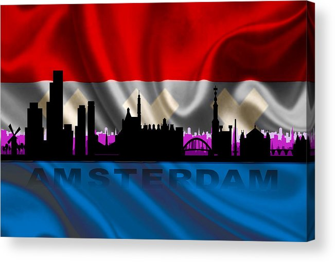 Architecture Acrylic Print featuring the digital art Amsterdam City by Don Kuing