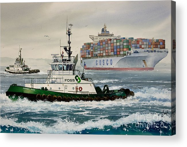 Tugs Acrylic Print featuring the painting Andrew Foss Assisting Cosco by James Williamson
