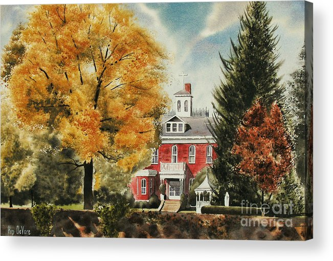 Antebellum Autumn Ironton Missouri Acrylic Print featuring the painting Antebellum Autumn Ironton Missouri by Kip DeVore