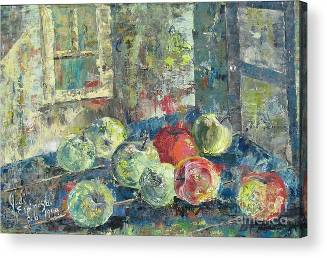 Apples Acrylic Print featuring the painting Apples - Sold by Judith Espinoza