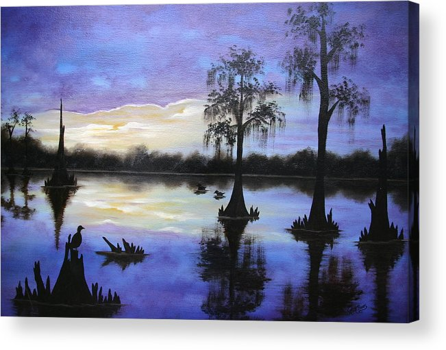 Seascape Acrylic Print featuring the painting Atchafalya Sunrise by Ruth Bares