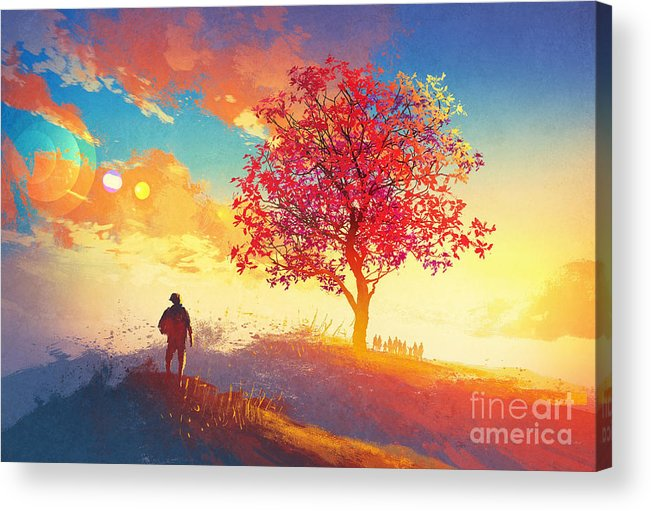 Love Acrylic Print featuring the digital art Autumn Landscape With Alone Tree On by Tithi Luadthong
