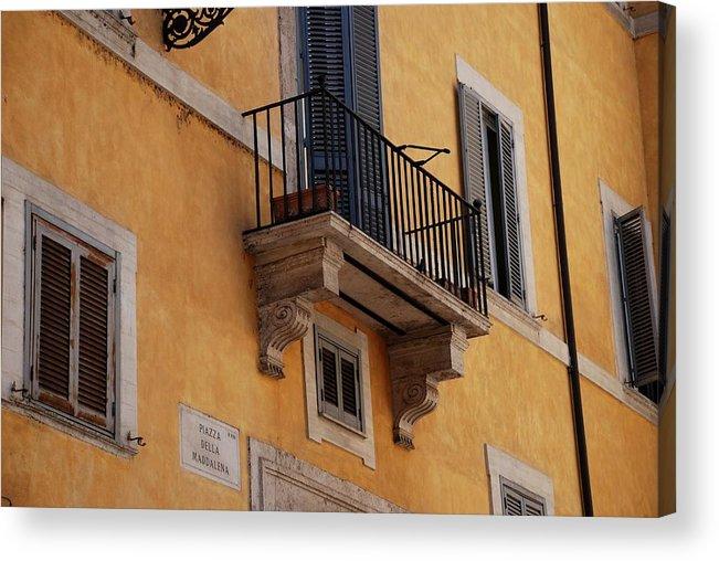 Rome Acrylic Print featuring the photograph Balcony Piazza Della Madallena In Roma by Dany Lison