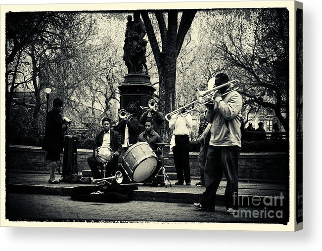 Filmnoir Acrylic Print featuring the photograph Band On Union Square New York City by Sabine Jacobs