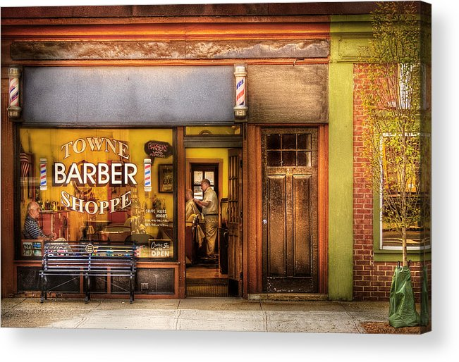 Hair Acrylic Print featuring the photograph Barber - Towne Barber Shop by Mike Savad