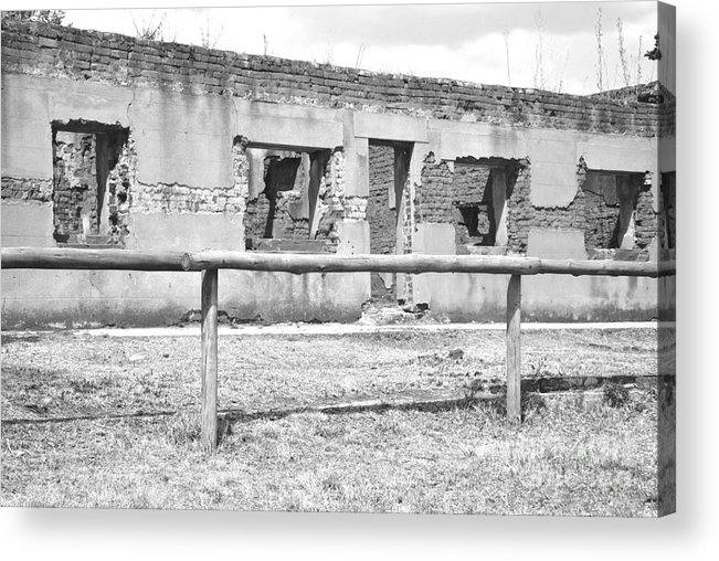 Old Ruins Acrylic Print featuring the photograph Black And White Old Ruin by Herman Cloete