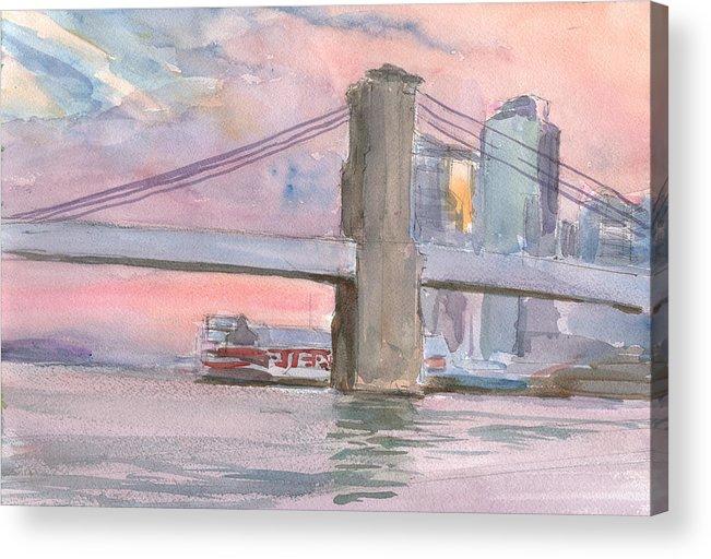 Brooklyn Bridge Acrylic Print featuring the painting Brooklyn Bridge Sunset 2013 by Walter Lynn Mosley
