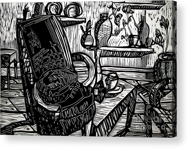 Chair Acrylic Print featuring the relief Chair Of My Dream Final Stage by Charlie Spear
