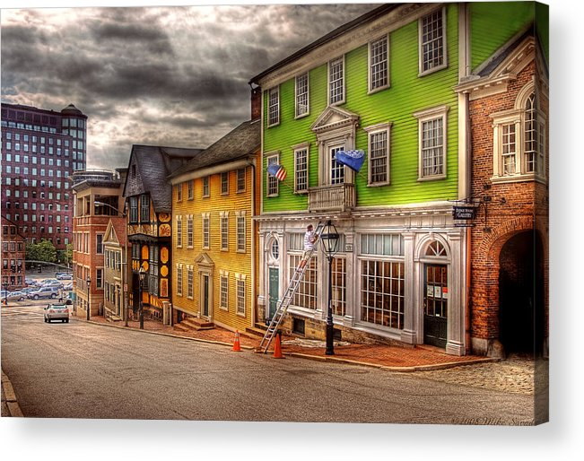 Savad Acrylic Print featuring the photograph City - Providence Ri - Thomas Street by Mike Savad