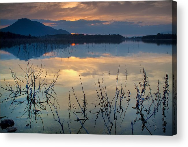 Sunset Acrylic Print featuring the photograph Clouds On The Pink Water by Guido Montanes Castillo
