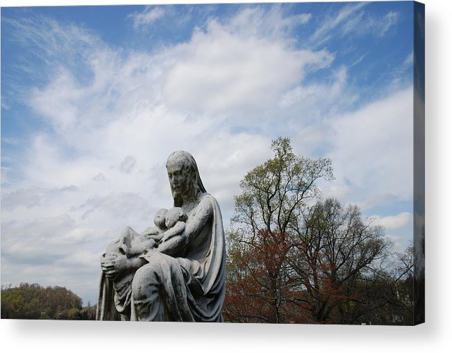 Cemetery Acrylic Print featuring the photograph Clouds Over Mother And Twins by Jennifer Ancker