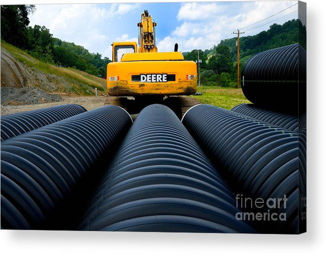 Backhoe Acrylic Print featuring the photograph Construction Excavator by Amy Cicconi