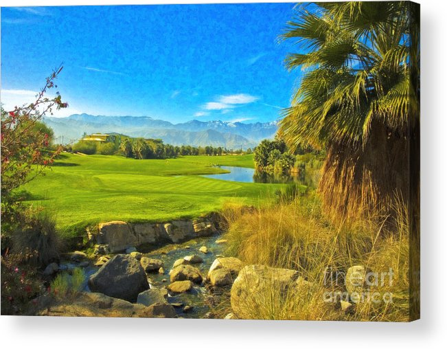 Golfing At Desert Willow Golf Course Palm Desert Ca Acrylic Print featuring the photograph Desert Golf Resort Pastel Photograph by David Zanzinger