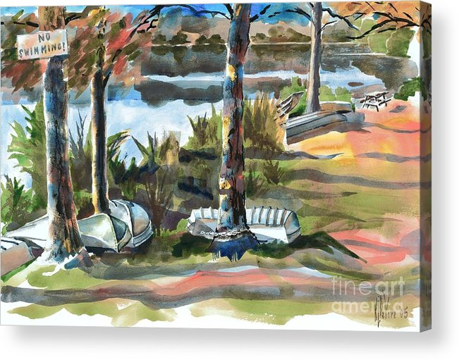 Evening Shadows At Shepherd Mountain Lake No W101 Acrylic Print featuring the painting Evening Shadows At Shepherd Mountain Lake No W101 by Kip DeVore