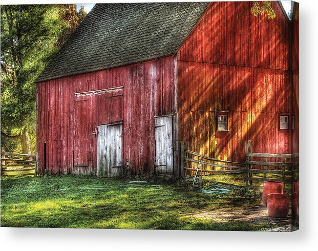 Savad Acrylic Print featuring the photograph Farm - Barn - The Old Red Barn by Mike Savad