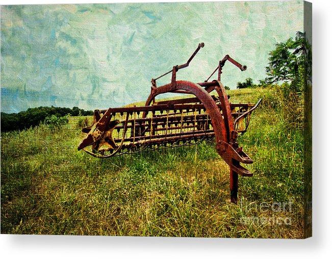 Farm Acrylic Print featuring the digital art Farm Equipment In A Field by Amy Cicconi