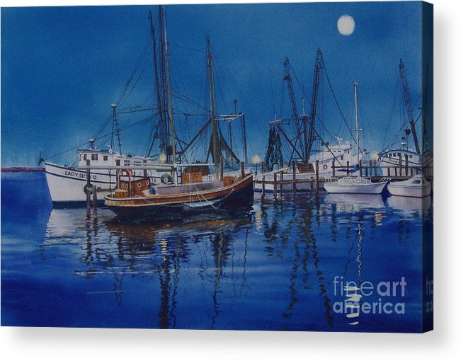 Night Acrylic Print featuring the painting Fishmoon by Karol Wyckoff