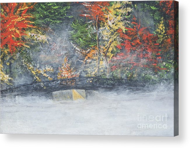 Fall Acrylic Print featuring the painting Foggy Fall Lake by William Ohanlan