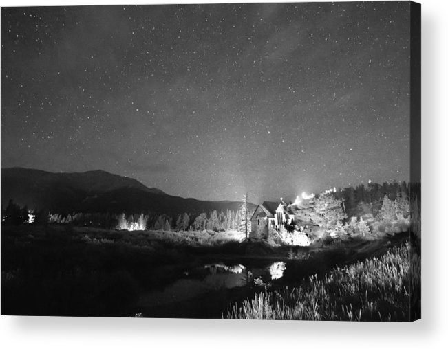 Chapel On The Rock Acrylic Print featuring the photograph Forest Of Stars Above The Chapel On The Rock Bw by James BO Insogna