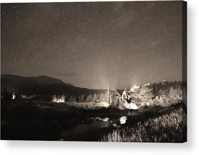 Chapel On The Rock Acrylic Print featuring the photograph Forest Of Stars Above The Chapel On The Rock Sepia by James BO Insogna