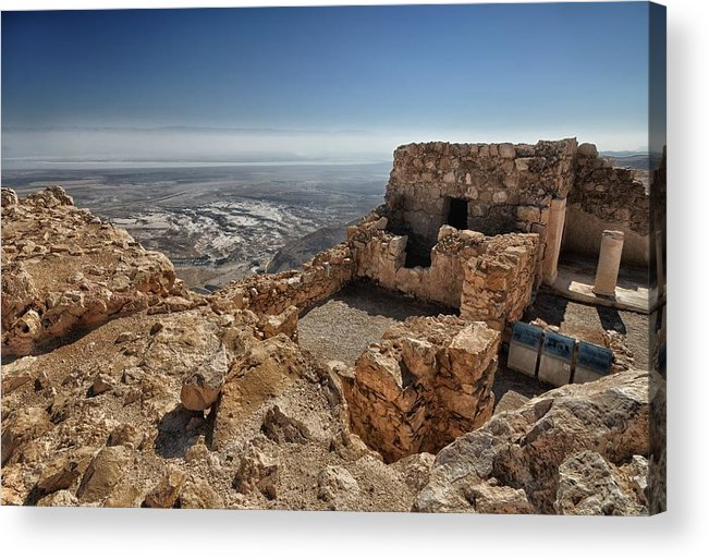 Artistic Photograph Of The Fortress Of Masada In The Desert Wilderness Israel Acrylic Print featuring the photograph Fortress Of Masada Israel 1 by Mark Fuller
