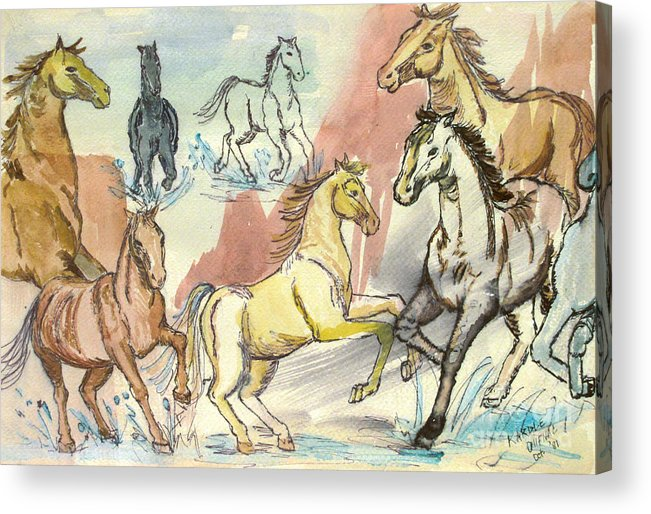 Horses Acrylic Print featuring the painting Golden Mare by Carol Oufnac Mahan