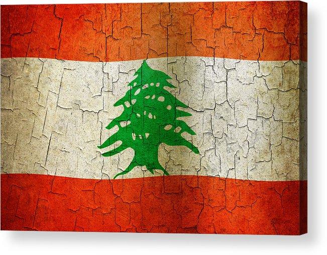 Aged Acrylic Print featuring the digital art Grunge Lebanon Flag by Steve Ball