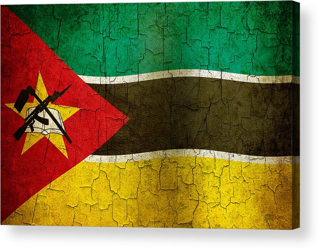 Aged Acrylic Print featuring the digital art Grunge Mozambique Flag by Steve Ball