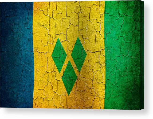 Aged Acrylic Print featuring the digital art Grunge Saint Vincent And The Grenadines Flag by Steve Ball