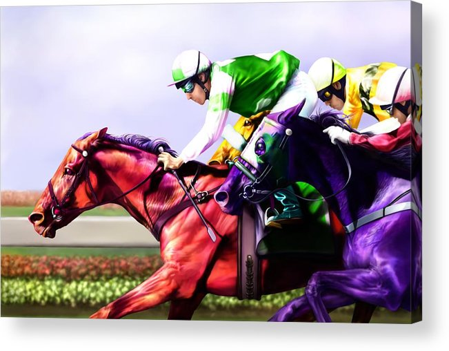 Race Horses Acrylic Print featuring the digital art Horse Of A Different Color by Karen Kutoloski