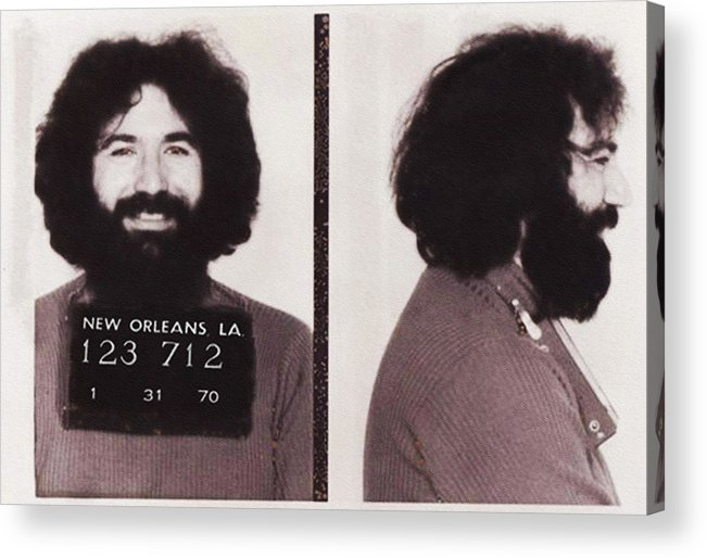 Jerry Acrylic Print featuring the photograph Jerry Garcia Mugshot by Digital Reproductions