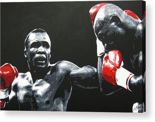 Leonard Acrylic Print featuring the painting Leonard Vs. Hagler 2 by Geo Thomson