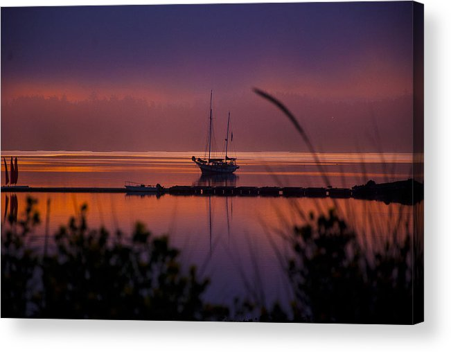 Penn Cove Acrylic Print featuring the photograph Lifting Morning Fog by Ron Roberts