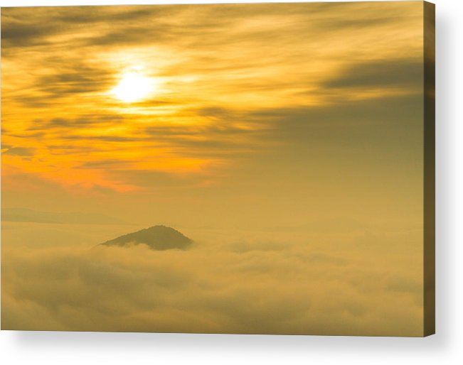 Steven Freedman Acrylic Print featuring the photograph Lone Peak Hanging In The Light by Steven Freedman