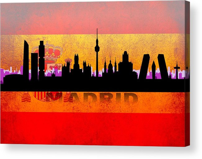 Architecture Acrylic Print featuring the digital art Madrid City by Don Kuing