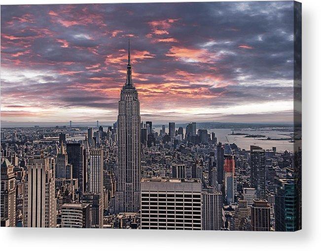 Manhattan Acrylic Print featuring the photograph Manhattan Under A Red Sky by Joachim G Pinkawa